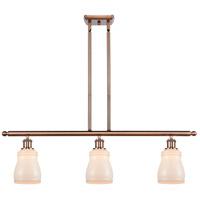 Innovations Lighting 516-3I-AC-G391-LED Ellery LED 36 inch Antique Copper Island Light Ceiling Light, Ballston