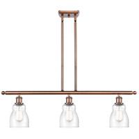 Innovations Lighting 516-3I-AC-G394-LED Ellery LED 36 inch Antique Copper Island Light Ceiling Light, Ballston