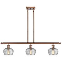 Innovations Lighting 516-3I-AC-G92-LED Fenton LED 36 inch Antique Copper Island Light Ceiling Light, Ballston