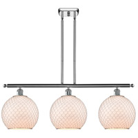 Innovations Lighting 516-3I-PC-G121-10CSN Large Farmhouse Chicken Wire 3 Light 36 inch Polished Chrome Island Light Ceiling Light, Ballston