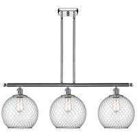 Innovations Lighting 516-3I-PC-G122-10CBK Large Farmhouse Chicken Wire 3 Light 36 inch Polished Chrome Island Light Ceiling Light, Ballston