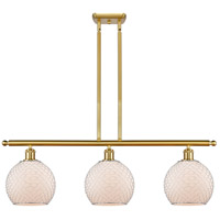 Innovations Lighting 516-3I-SG-G121-8CSN Farmhouse Chicken Wire 3 Light 36 inch Satin Gold Island Light Ceiling Light Ballston