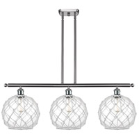 Innovations Lighting 516-3I-SN-G122-10RW Large Farmhouse Rope 3 Light 36 inch Brushed Satin Nickel Island Light Ceiling Light, Ballston photo thumbnail