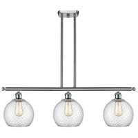 Innovations Lighting 516-3I-SN-G122-8CSN-LED Farmhouse Chicken Wire LED 36 inch Satin Nickel Island Light Ceiling Light Ballston