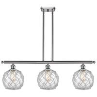 Innovations Lighting 516-3I-SN-G122-8RW-LED Farmhouse Rope LED 36 inch Brushed Satin Nickel Island Light Ceiling Light Ballston