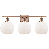 Innovations Lighting 516-3W-AC-G121 Athens 3 Light 26 inch Antique Copper Bath Vanity Light Wall Light, Ballston