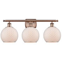 Innovations Lighting 516-3W-AC-G121-8CSN Farmhouse Chicken Wire 3 Light 26 inch Antique Copper Bath Vanity Light Wall Light, Ballston