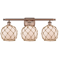 Innovations Lighting 516-3W-AC-G121-8RB Farmhouse Rope 3 Light 26 inch Antique Copper Bath Vanity Light Wall Light Ballston