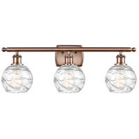 Innovations Lighting 516-3W-AC-G1213-6 Small Deco Swirl 3 Light 26 inch Antique Copper Bath Vanity Light Wall Light, Ballston