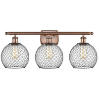 Innovations Lighting 516-3W-AC-G122-8CBK-LED Farmhouse Chicken Wire LED 26 inch Antique Copper Bath Vanity Light Wall Light Ballston
