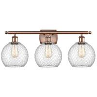 Innovations Lighting 516-3W-AC-G122-8CSN-LED Farmhouse Chicken Wire LED 26 inch Antique Copper Bath Vanity Light Wall Light Ballston