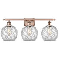 Innovations Lighting 516-3W-AC-G122-8RW-LED Farmhouse Rope LED 26 inch Antique Copper Bath Vanity Light Wall Light Ballston