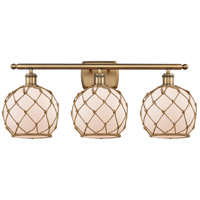 Innovations Lighting 516-3W-BB-G121-8RB Farmhouse Rope 3 Light 26 inch Brushed Brass Bath Vanity Light Wall Light Ballston