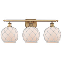 Innovations Lighting 516-3W-BB-G121-8RW Farmhouse Rope 3 Light 26 inch Brushed Brass Bath Vanity Light Wall Light Ballston