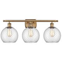 Innovations Lighting 516-3W-BB-G122-8CSN-LED Farmhouse Chicken Wire LED 26 inch Brushed Brass Bath Vanity Light Wall Light Ballston
