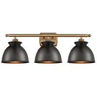 Innovations Lighting 516-3W-BB-M14-BK Adirondack 3 Light 28 inch Brushed Brass Bath Vanity Light Wall Light Ballston