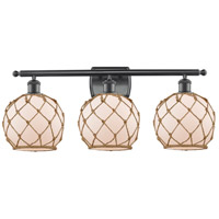 Innovations Lighting 516-3W-BK-G121-8RB Farmhouse Rope 3 Light 26 inch Matte Black Bath Vanity Light Wall Light Ballston