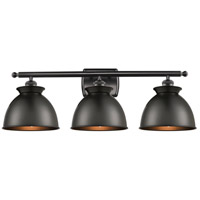 Innovations Lighting 516-3W-BK-M14-BK Adirondack 3 Light 28 inch Matte Black Bath Vanity Light Wall Light Ballston
