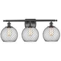 Innovations Lighting 516-3W-OB-G122-8CBK-LED Farmhouse Chicken Wire LED 26 inch Oil Rubbed Bronze Bath Vanity Light Wall Light Ballston