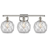 Innovations Lighting 516-3W-PN-G122-8RW Farmhouse Rope 3 Light 26 inch Polished Nickel Bath Vanity Light Wall Light Ballston