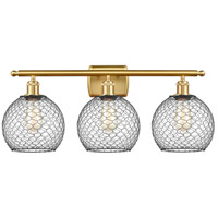 Innovations Lighting 516-3W-SG-G122-8CBK-LED Farmhouse Chicken Wire LED 26 inch Satin Gold Bath Vanity Light Wall Light Ballston