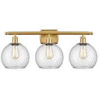 Innovations Lighting 516-3W-SG-G122-8CSN-LED Farmhouse Chicken Wire LED 26 inch Satin Gold Bath Vanity Light Wall Light Ballston