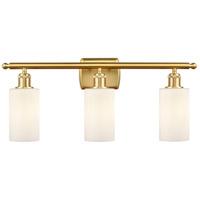 Innovations Lighting 516-3W-SG-G801 Clymer 3 Light 26 inch Satin Gold Bath Vanity Light Wall Light Ballston