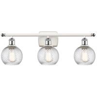 Innovations Lighting 516-3W-WPC-G1213-6 Small Deco Swirl 3 Light 26 inch White And Polished Chrome Bath Vanity Light Wall Light Ballston