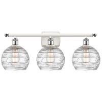 Innovations Lighting 516-3W-WPC-G1213-8 Deco Swirl 3 Light 26 inch White And Polished Chrome Bath Vanity Light Wall Light Ballston