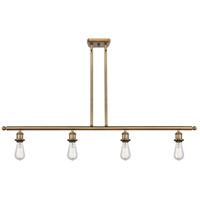 Innovations Lighting 516-4I-BB-LED Bare Bulb LED 48 inch Brushed Brass Island Light Ceiling Light, Ballston