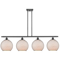 Innovations Lighting 516-4I-BK-G121-10CBK Large Farmhouse Chicken Wire 4 Light 48 inch Matte Black Island Light Ceiling Light Ballston