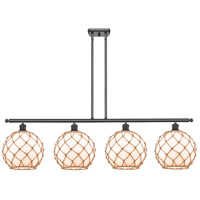 Innovations Lighting 516-4I-BK-G121-10RB Large Farmhouse Rope 4 Light 48 inch Matte Black Island Light Ceiling Light Ballston