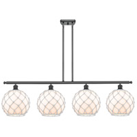 Innovations Lighting 516-4I-BK-G121-10RW Large Farmhouse Rope 4 Light 48 inch Matte Black Island Light Ceiling Light Ballston