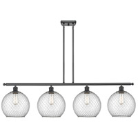 Innovations Lighting 516-4I-BK-G122-10CBK Large Farmhouse Chicken Wire 4 Light 48 inch Matte Black Island Light Ceiling Light Ballston