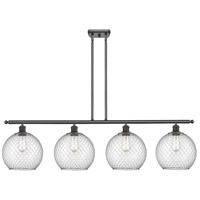 Innovations Lighting 516-4I-BK-G122-10CSN Large Farmhouse Chicken Wire 4 Light 48 inch Matte Black Island Light Ceiling Light Ballston
