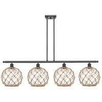 Innovations Lighting 516-4I-BK-G122-10RB Large Farmhouse Rope 4 Light 48 inch Matte Black Island Light Ceiling Light Ballston