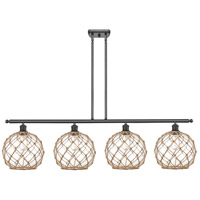 Innovations Lighting 516-4I-OB-G122-10RB Large Farmhouse Rope 4 Light 48 inch Oil Rubbed Bronze Island Light Ceiling Light Ballston
