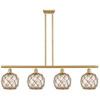 Innovations Lighting 516-4I-SG-G122-8RB-LED Farmhouse Rope LED 48 inch Satin Gold Island Light Ceiling Light Ballston
