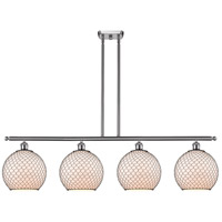 Innovations Lighting 516-4I-SN-G121-10CBK Large Farmhouse Chicken Wire 4 Light 48 inch Brushed Satin Nickel Island Light Ceiling Light Ballston