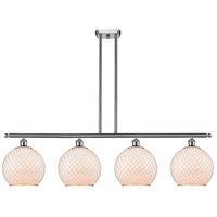 Innovations Lighting 516-4I-SN-G121-10CSN-LED Large Farmhouse Chicken Wire LED 48 inch Satin Nickel Island Light Ceiling Light, Ballston