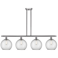 Innovations Lighting 516-4I-SN-G122-10CBK Large Farmhouse Chicken Wire 4 Light 48 inch Brushed Satin Nickel Island Light Ceiling Light Ballston