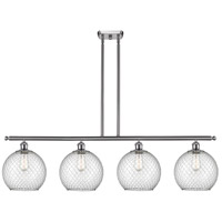 Innovations Lighting 516-4I-SN-G122-10CSN Large Farmhouse Chicken Wire 4 Light 48 inch Brushed Satin Nickel Island Light Ceiling Light Ballston