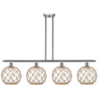 Innovations Lighting 516-4I-SN-G122-10RB Large Farmhouse Rope 4 Light 48 inch Brushed Satin Nickel Island Light Ceiling Light Ballston