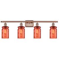 Innovations Lighting 516-4W-AC-G352-COR Candor 4 Light 36 inch Antique Copper Bath Vanity Light Wall Light, Ballston