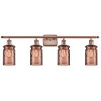 Innovations Lighting 516-4W-AC-G352-TOF Candor 4 Light 36 inch Antique Copper Bath Vanity Light Wall Light, Ballston