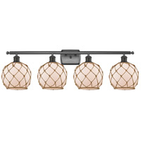 Innovations Lighting 516-4W-OB-G121-8RB-LED Farmhouse Rope LED 36 inch Oil Rubbed Bronze Bath Vanity Light Wall Light Ballston