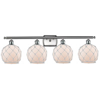 Innovations Lighting 516-4W-SN-G121-8RW Farmhouse Rope 4 Light 36 inch Satin Nickel Bath Vanity Light Wall Light Ballston