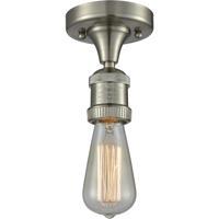 Innovations Lighting 517-1C-SN Bare Bulb 1 Light 5 inch Satin Nickel Semi-Flush Mount Ceiling Light, Franklin Restoration