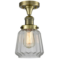 Innovations Lighting 517-1CH-AB-G142-LED Chatham LED 6 inch Antique Brass Flush Mount Ceiling Light