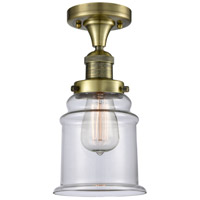 Canton 1 Light 7 inch Antique Brass Flush Mount Ceiling Light